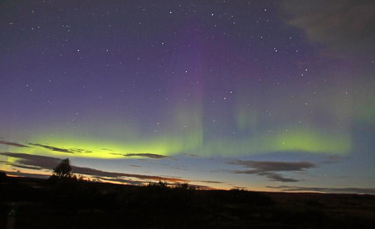 Una aurora boreal generada cuando los vientos solares afectan al campo magnético de la tierra. Foto: Diego Alonso