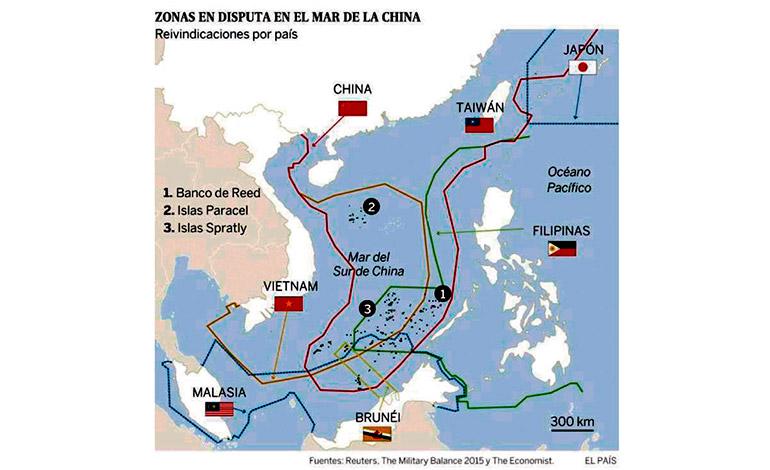 Mar (sur) de China meridional en cuya área se localiza la actual disputa geoestratégica promovida por China Continental.