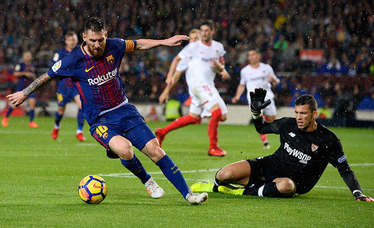 Barcelona gana a Sevilla 2-1 en el partido 600 de Messi
