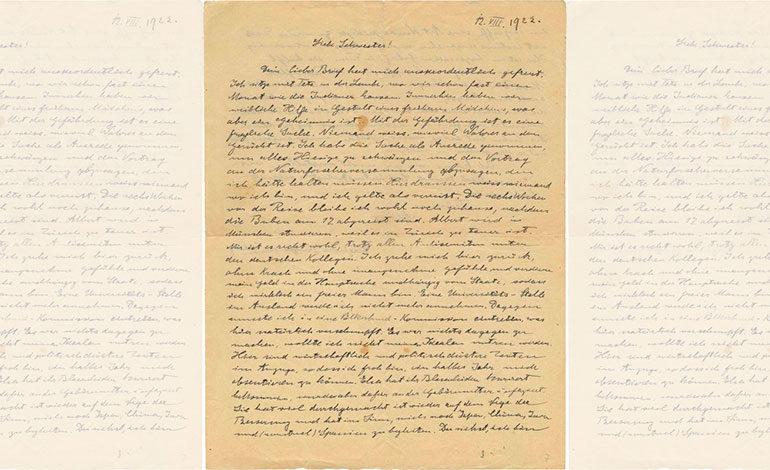 Subastan carta escrita por Einstein en casi 40.000 dólares