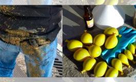 Protestantes lanzan bombas con materia fecal a la policía
