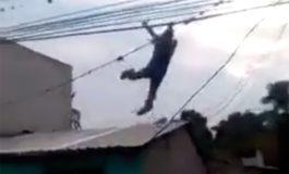 Supuesto ladrón huye de militares colgándose de cables como el Hombre Araña (Video)