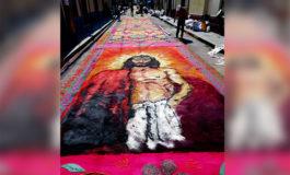 Colorida alfombra adorna capital hondureña para procesión del Santo Entierro