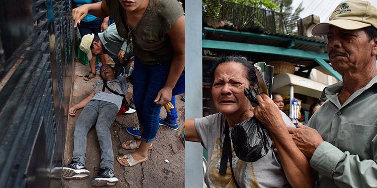La paciente Reyna Isabel Varela (61) estuvo tres horas de pie, en los portones del Hospital Psiquiátrico Mario Mendoza, clamando por atención médica, hasta que finalmente se desmayó y fue trasladada a la sala de emergencia.