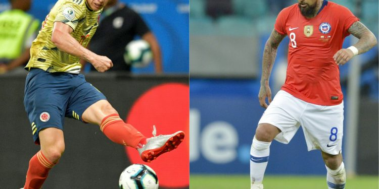 (COMBO) In this combination of file pictures created on June 27, 2019, Colombia's James Rodriguez (L) strikes the ball during the Copa America football tournament group match against Paraguay at the Fonte Nova Arena in Salvador, Brazil, on June 23, 2019 and Chile's Arturo Vidal drives the ball during the Copa America football tournament group match against Ecuador at the Fonte Nova Arena in Salvador, Brazil, on June 21, 2019. - Colombia will meet Chile next June 28 in a Copa America quarter final football match at the Corinthians Arena in Sao Paulo, Brazil, (Photos by Raul ARBOLEDA / AFP)