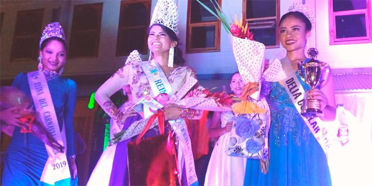 Reina de la feria Mailyn Padilla, primera princesa Delia Cuéllar y reina del carnaval Estefany.