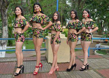 Las bellas y primaverales candidatas a reina de la feria de El Paraíso: Vivían Hernández, Claudia Suárez, Angélica Lovo, Claudia Amador y Valeria Orellana.