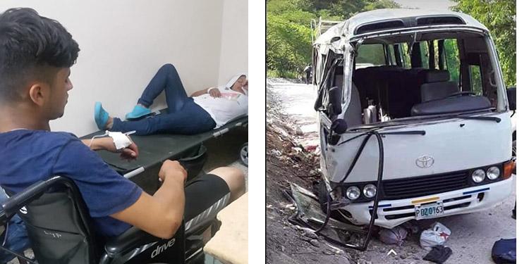 Durante el volcamiento resultaron con serias lesiones y heridas unos 13 pasajeros.