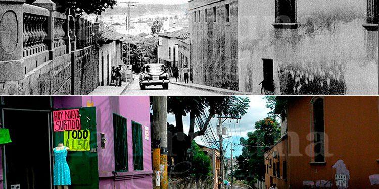 En el tiempo. Aquella tranquila calle que conecta del puente La Isla al centro de la ciudad. A su izquierda, en el pasado, el muro exterior de la antigua Academia Militar de Honduras después Instituto Central. A un lado barrio El Olvido.