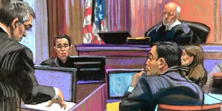 """El caricaturista dibuja al testigo en el caso de """"Tony"""" Hernández."""
