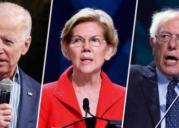 Joe Biden, Elizabeth Warren y Bernie Sanders.