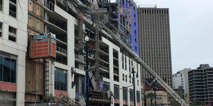 ¡Aterrador! Hotel en construcción colapsa sobre varias personas