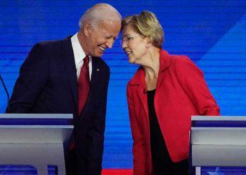 Joe Biden y Elizabeth Warren.