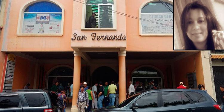 """La cirujano dentista Ruth Aracely Zavala (foto inserta) tenía su clínica en el edificio """"San Fernando"""", de Danlí, El Paraíso."""