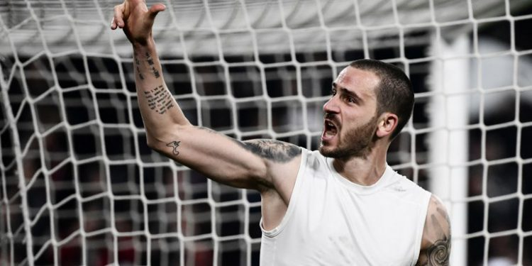Juventus' Italian defender Leonardo Bonucci celebrates at the end of the UEFA Champions League round of 16 second-leg football match Juventus vs Atletico Madrid on March 12, 2019 at the Juventus stadium in Turin. (Photo by Marco BERTORELLO / AFP)