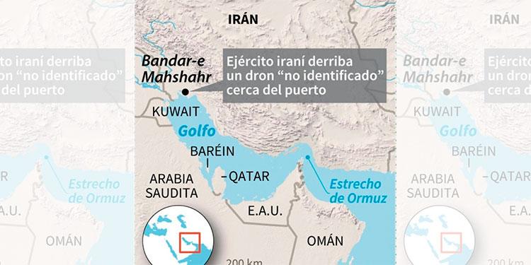 Irán derribó un dron no identificado en la costa del golfo Pérsico