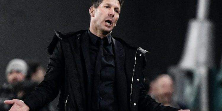 Atletico Madrid's Argentine coach Diego Simeone reacts during the UEFA Champions League round of 16 second-leg football match Juventus vs Atletico Madrid on March 12, 2019 at the Juventus stadium in Turin. (Photo by Marco BERTORELLO / AFP)