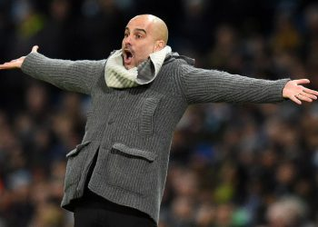 Manchester City's Spanish manager Pep Guardiola gestures on the touchline during the UEFA Champions League round of 16 second leg football match between Manchester City and Schalke 04 at the Etihad Stadium in Manchester, north west England, on March 12, 2019. (Photo by Oli SCARFF / AFP)