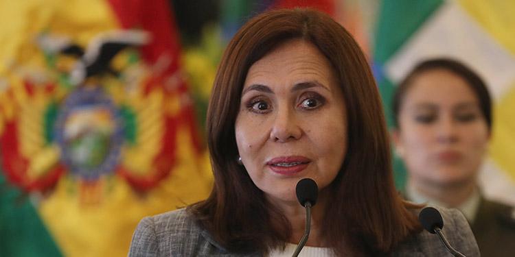 Karen Longaric, canciller de Bolivia.