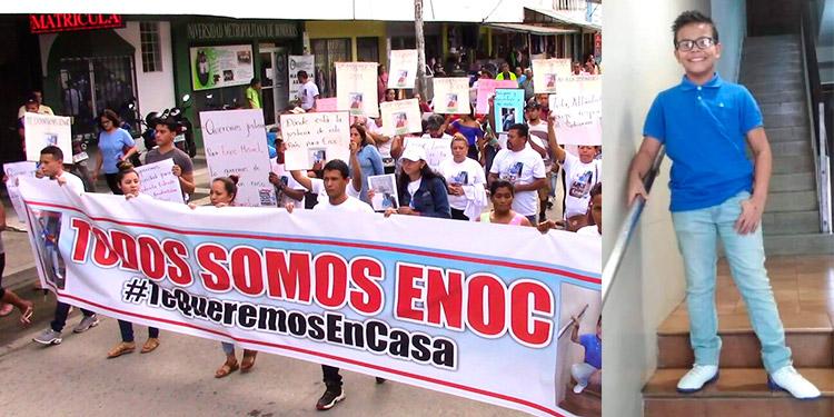 Familiares, amigos y vecinos marcharon  ayer por un sector de la ciudad de Tela, exigiendo se esclarezca la desaparición violenta del niño Enoc Misael Pérez Chinchilla (foto inserta).