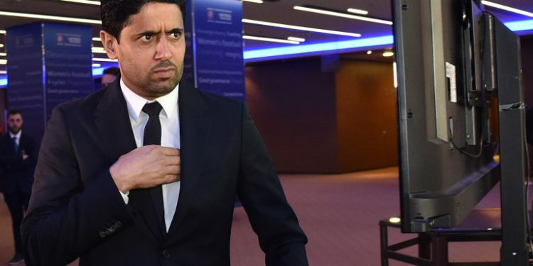 "(FILES) In this file photo taken on February 7, 2019 Paris Saint-Germain's Qatari president Nasser Al-Khelaifi takes a break during the 43rd Ordinary UEFA Congress in Rome. - The Qatari boss of top French soccer team PSG Nasser Al-Khelaifi has been questioned in France in connection with a corruption probe over the awarding to Doha of the World Athletics championships, a judicial source said on March 23, 2019. The source said Al-Khelaifi was questioned on March 20, 2019, by investigating magistrates who termed him a ""person of interest"" as they examine a case which also looks at the circumstances in which the Olympic Games were awarded to Rio de Janeiro for 2016 and Tokyo for 2020. (Photo by Andreas SOLARO / AFP)"