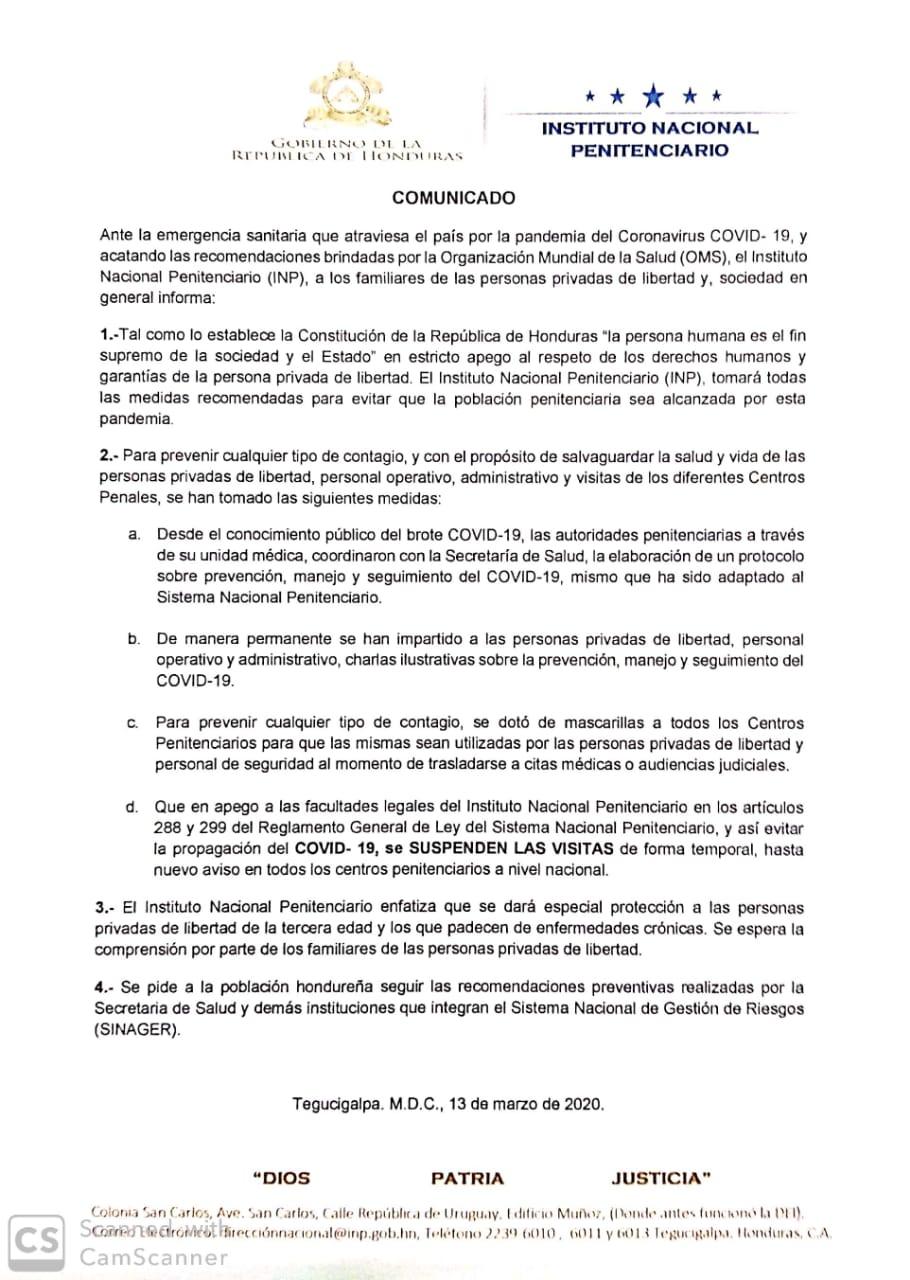 INP suspende visitas en la Penitenciaria Nacional por COVID-19