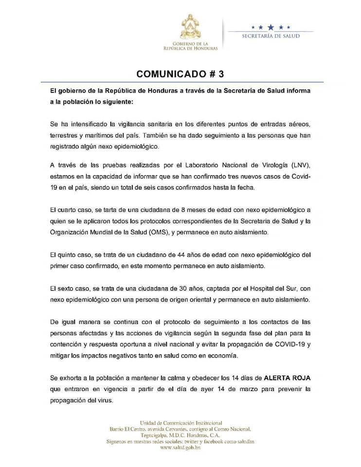 Ordenan cierre de fronteras y casos de coronavirus se elevan a seis