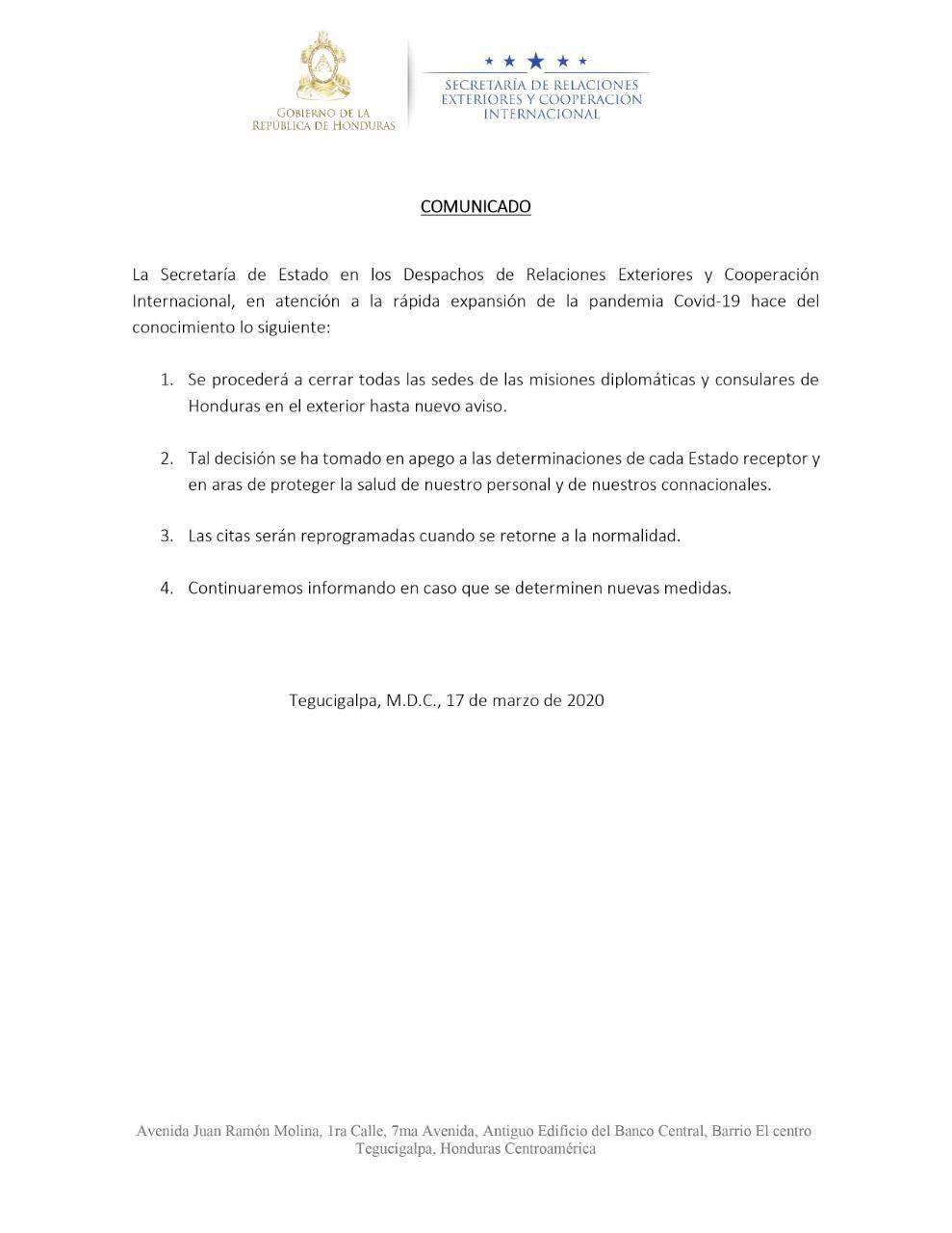 Honduras anuncia el cierre de todas sus embajadas