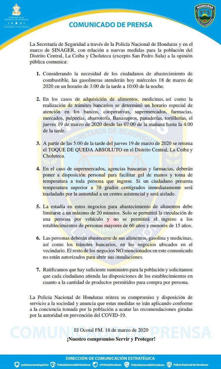 Gobierno reajusta medidas preventivas contra el COVID-19 en Honduras (Vídeo)