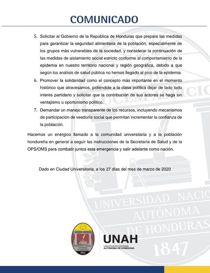 UNAH propone estrategia integral contra emergencia por COVID-19