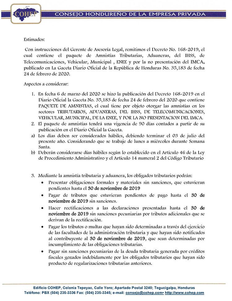 COHEP aclara que amnistía aprobada en el CN no es condonación