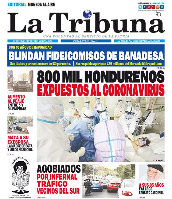 800 MIL HONDUREÑOS EXPUESTOS AL CORONAVIRUS
