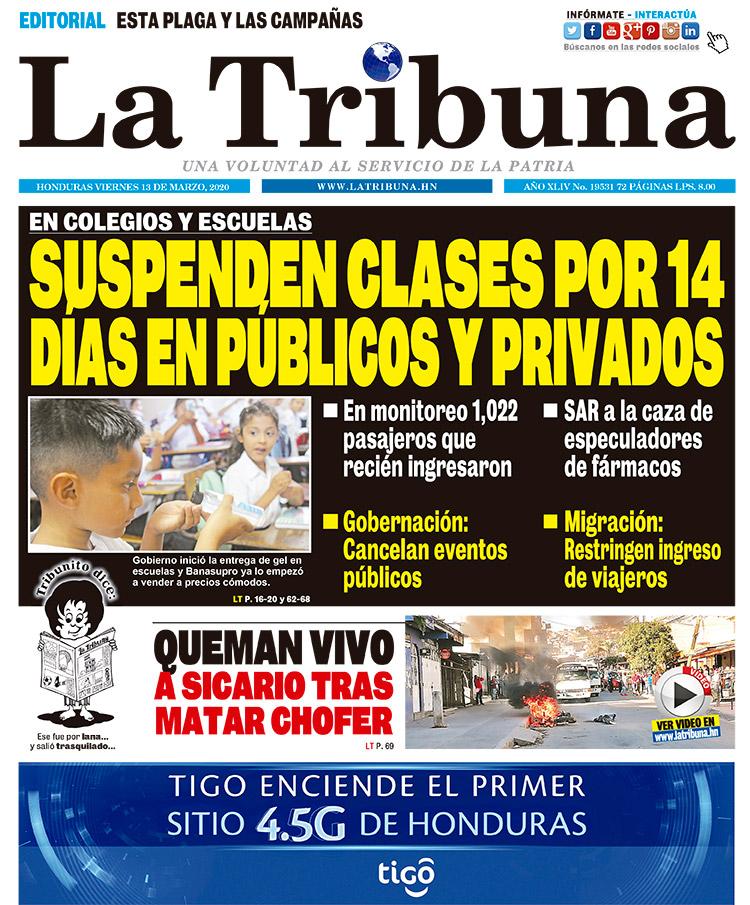 SUSPENDEN CLASES POR 14 DÍAS EN PÚBLICOS Y PRIVADOS