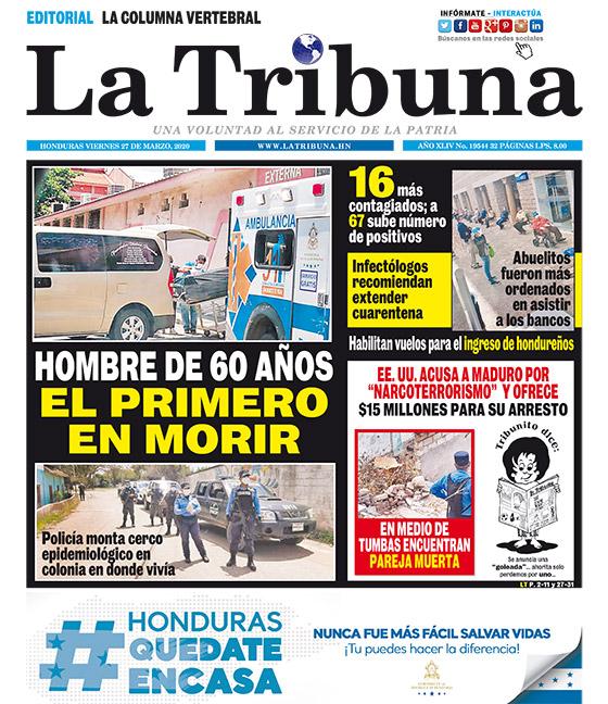 HOMBRE DE 60 AÑOS EL PRIMERO EN MORIR