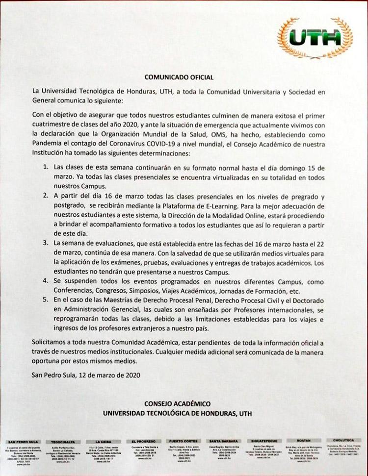 La UNAH suspende clases para prevenir contagios del COVID-19