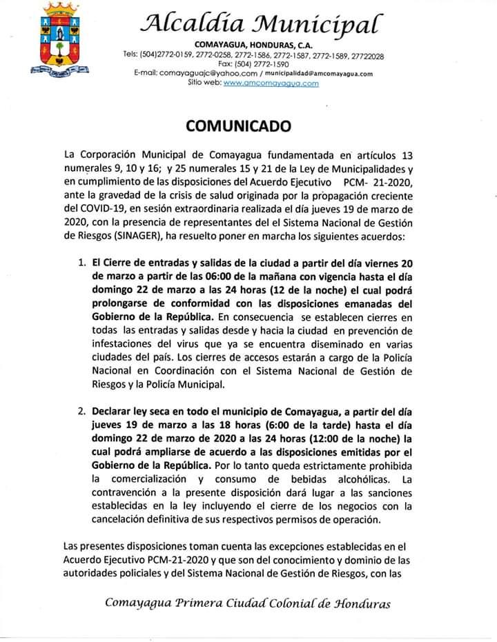 Alcaldía de Comayagua ordena cerrar la ciudad por el coronavirus