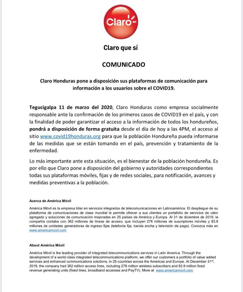 Claro y Tigo usarán plataformas para informar sobre el COVID-19