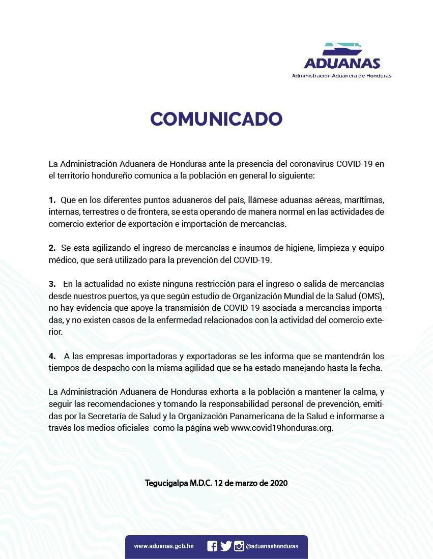 Así operará la Administración Aduanera ante la presencia de COVID-19