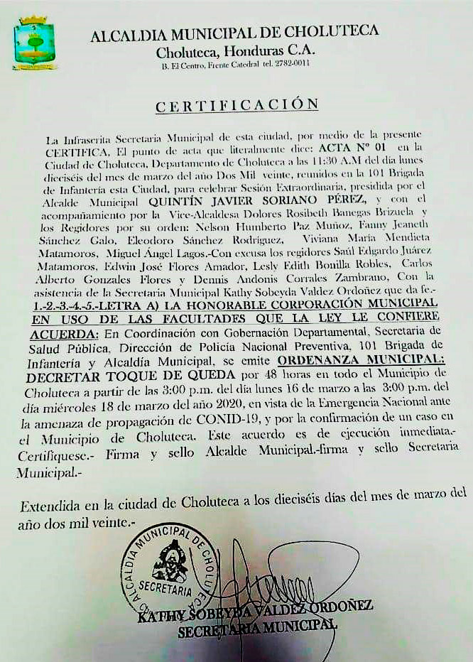Alcaldía de Choluteca decreta toque de queda por coronavirus