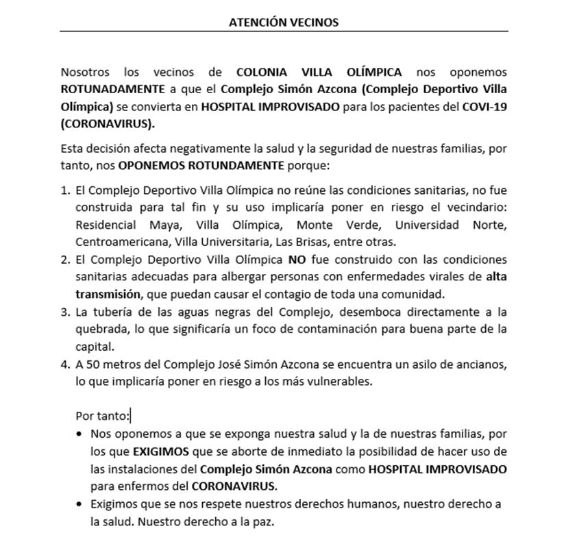 Vecinos de residencial Centroamericana protestan por albergue en la Villa Olímpica