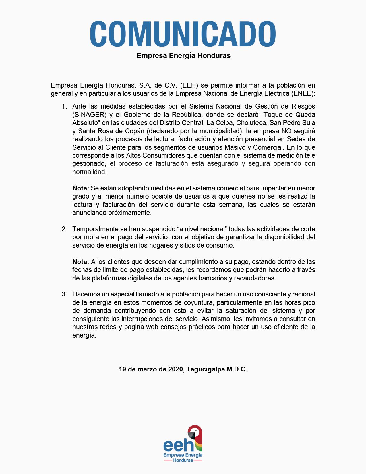 EEH suspende lectura de contadores y facturación por cuarentena