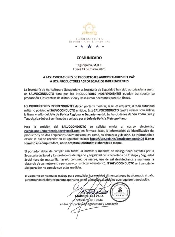 Emitensalvoconducto de movilización para productores independientes y de asociaciones