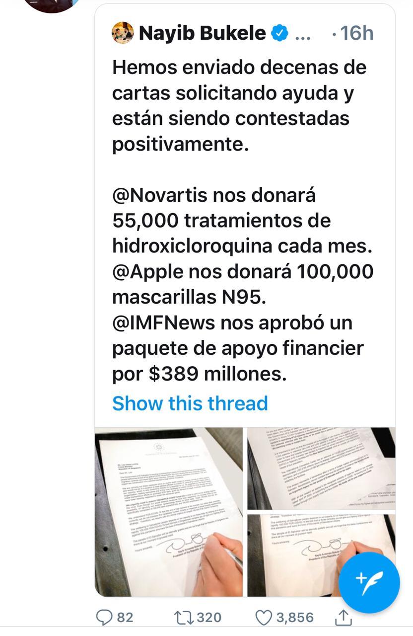 Cartas de Bukele pidiendo ayuda para coronavirus ya han sido contestadas