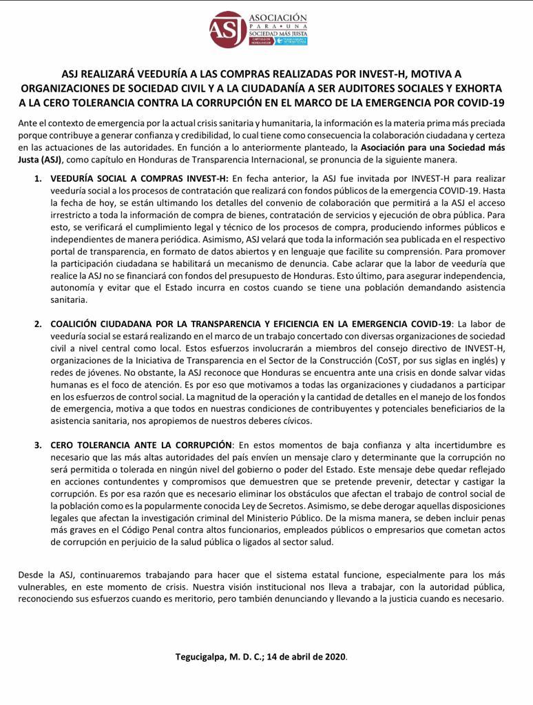 ASJ será veedor de compras bajo emergencia por COVID-19 en Honduras (Vídeo)