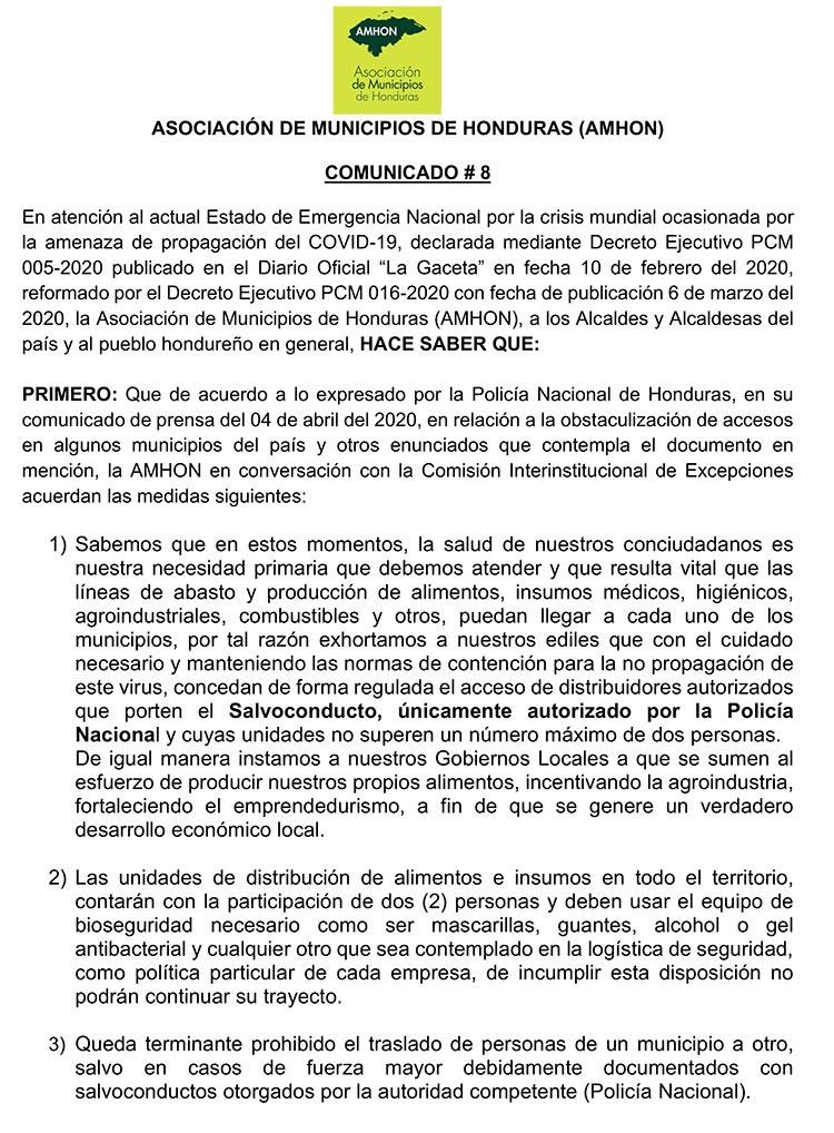 Alcaldes no deben impedir circulación de cadena agroalimentaria en Honduras