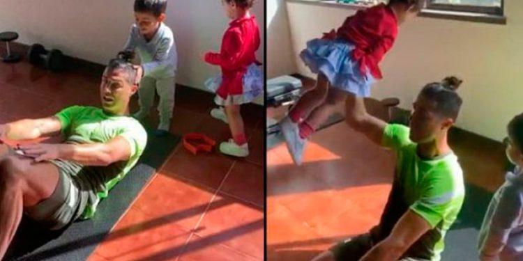 """Ronaldo y los problemas de """"teletrabajar"""" con sus hijos en casa"""
