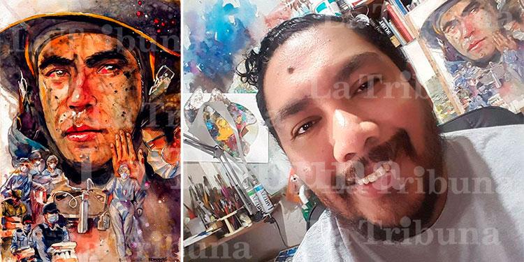 Acuarelista hondureño inspira su arte en los héroes contra el COVID-19