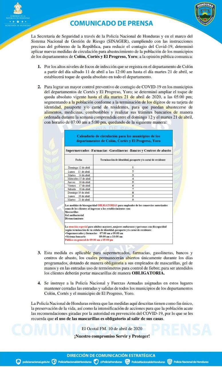Casos de COVID-19 suman 392; amplían toque de queda en Colón, Cortés y El Progreso