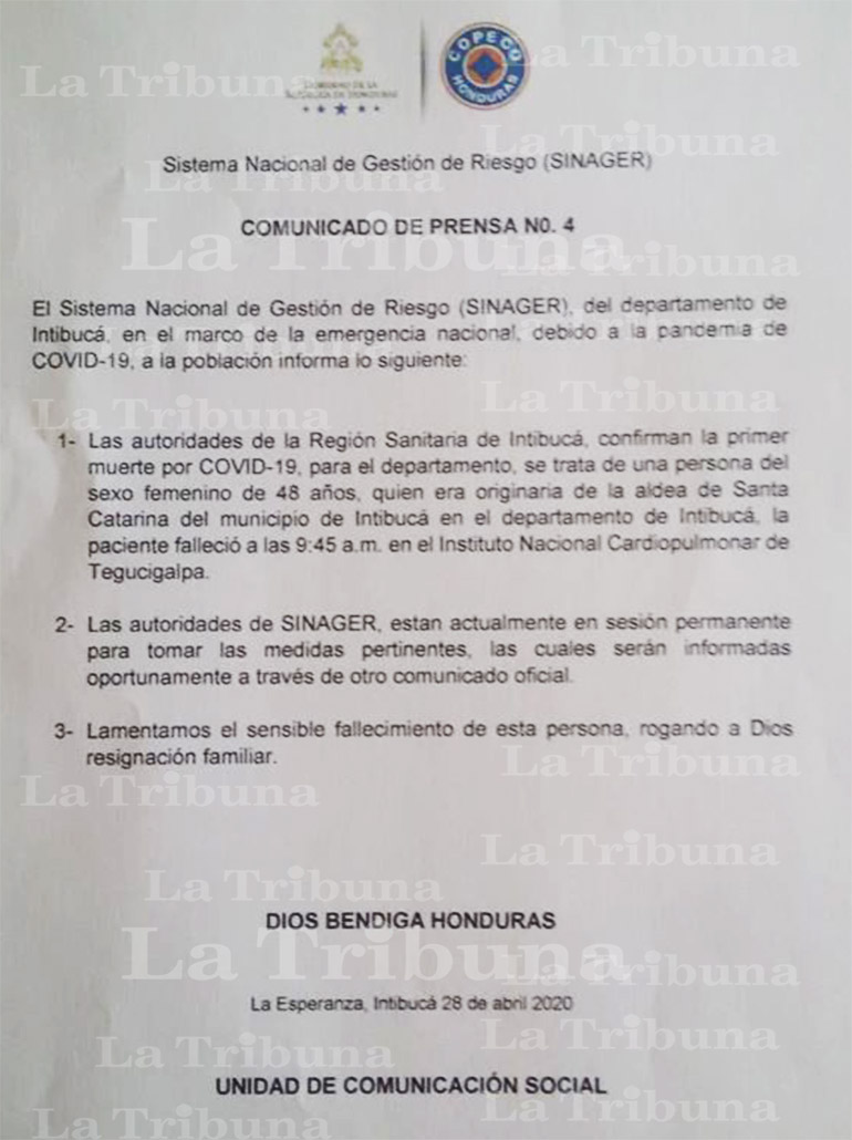 Sinager confirma deceso de mujer por COVID-19 en Hospital de El Tórax (Video)