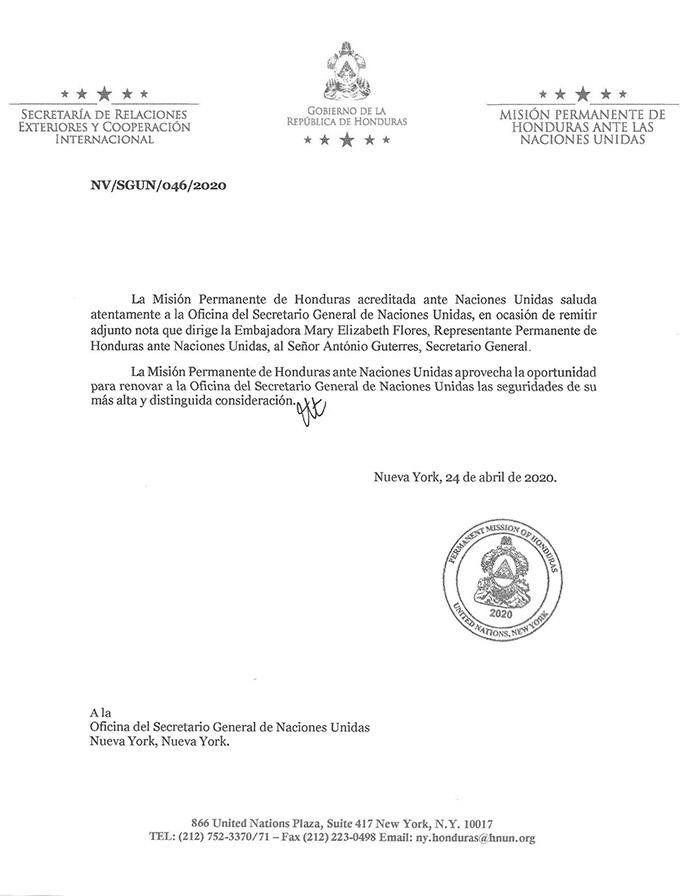 Pruebas de COVID-19 para Honduras pide embajadora a la ONU en carta al Secretario General